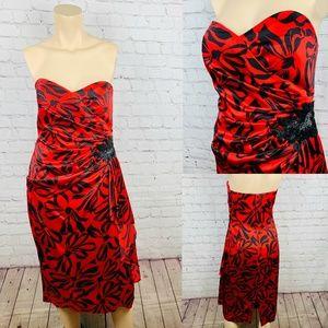 Vintage A.J. BARI 100% Silk Red Strapless Dress 8